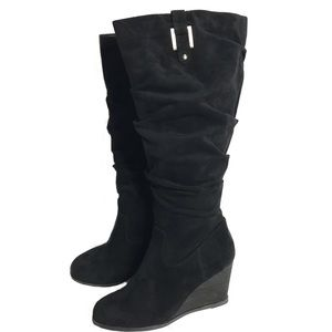 Dr Scholls Black Wedge Poe Suede Tall Boots NWOT T